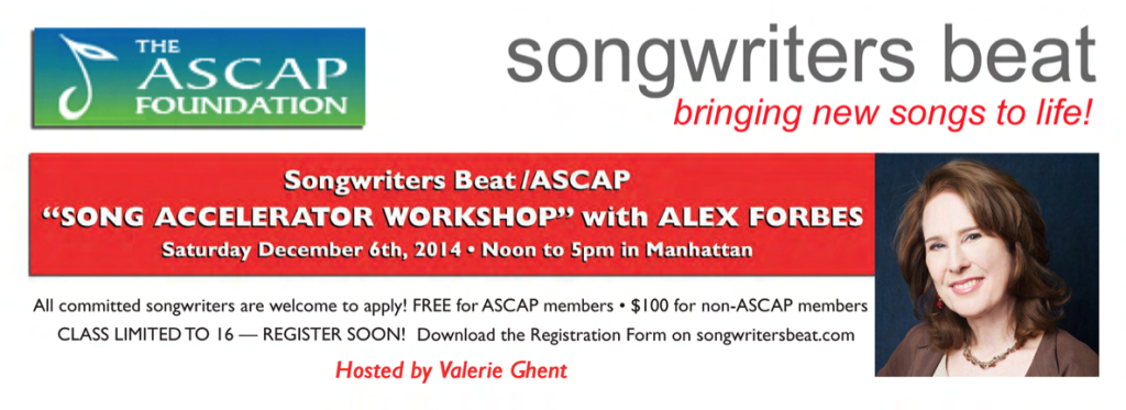 SongwritersBeat.SongAccelerator Workshop. 2014.
